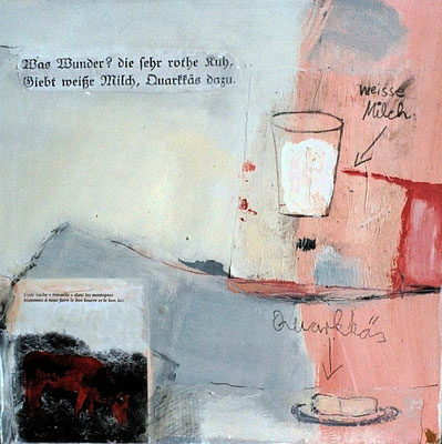 Die rothe Kuh, 2003, digitale Fotocollage und Mixed Media auf  Holz, 35 x 35 cm