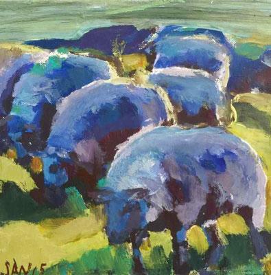 Schafe, 2015, Mischtechnik auf Holz, 20 x 20 cm