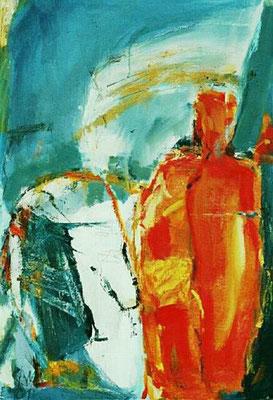 ohne Titel, Mischtechnik, Bitumen auf Leinwand, 2001, 110 x 75 cm