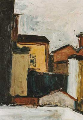 Hinterhöfe Brunnenstraße: 1991, Öl auf Holz, 40 x 30 cm
