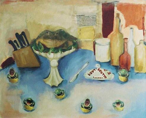 Froschschenkel auf frischer Zitrone, 2003,digitale Fotocollage und Mixed Media auf LW, 90x110 cm