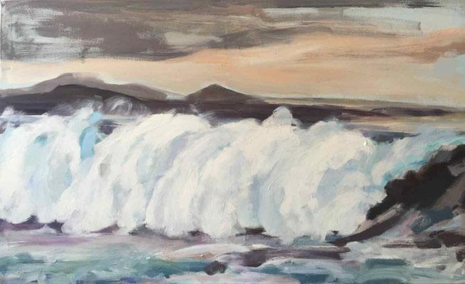 Atlantikbrandung 02, 2018, Mischtechnik-Leinwand, 90 x 150 cm