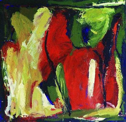 ohne Titel, Mischtechnik auf Leinwand, 1999, 50 x 50 cm