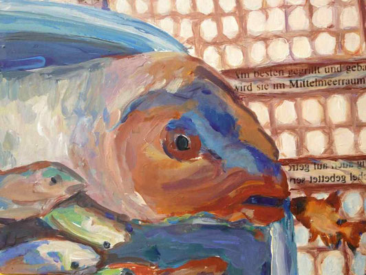 Fischflirt, 2014, Mischtechnik, auf Holz, 30x40 cm