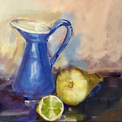 Krug mit Zitrone, 2017, Mischtechnik auf LW, 45x45x5 cm