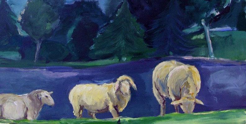 Schafe am Abend, 2009, Mischtechnik auf Holz, 28 x 59 cm