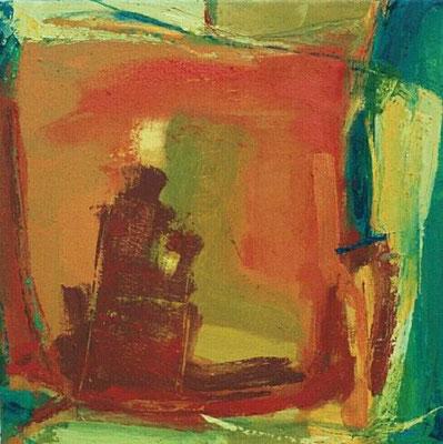 """ohne Titel, aus der Serie """"Campus"""", Mischtechnik auf Leinwand, 2001, 50 x 50 cm"""