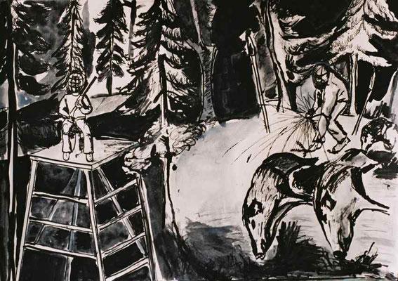 Schützenkönig, 2005, Tusche, Sepia, Gouache auf Papier, 30 x 40 cm