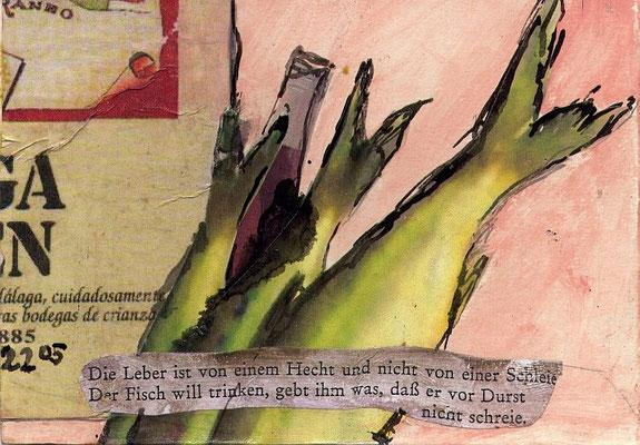 Leberfisch, 2008, 12 x 17 cm, (gerahmt 20,6 x 26,5 cm)