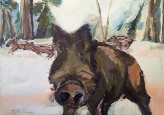 Wildschwein, 2013, Acryl auf Leinwand, 70 x 100cm