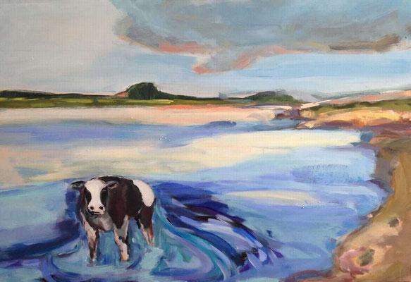 Kuh im Strudel, 2015, Mischtechnik auf Leinwand, 70 x 150 cm