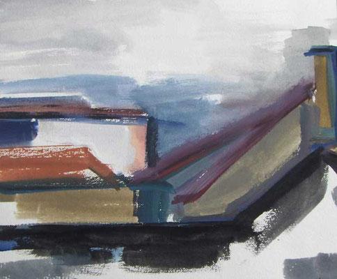 Dächer II: 1989, Tempera,22 x 23,5 cm