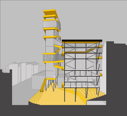 Perspective section architectural drawing. A conceptual highrise building with spaces for artists in Linz, Austria. Hochhaus in Linz, Innenstadt.