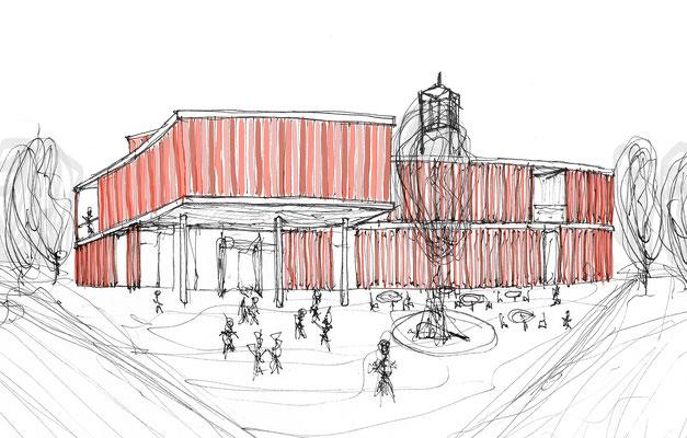 Perspective hand drawing. Architektur Entwurf für eine Schule in Steyr Munichholz. Circular building design concept for a school in Austria.