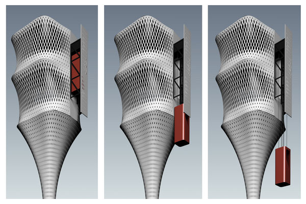 Rendering perspective of the elevator. Architecture Concept for a foldable house prototype that is able to disappear between buildings.