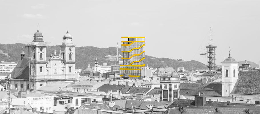 Architectural rendering and photo collage. A conceptual highrise building with spaces for artists in Linz, Austria. Hochhaus in Linz, Innenstadt.