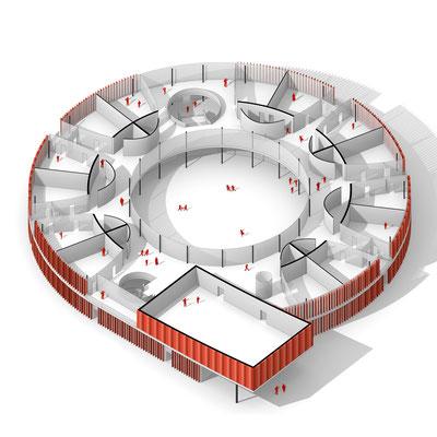 Rendered axonometric drawing. Architektur Entwurf für eine Schule in Steyr Munichholz. Circular building design concept for a school in Austria.