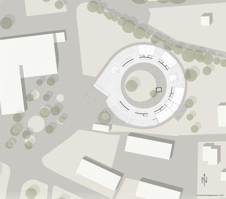 Floorplan drawing. Architektur Entwurf für eine Schule in Steyr Munichholz. Circular building design concept for a school in Austria.