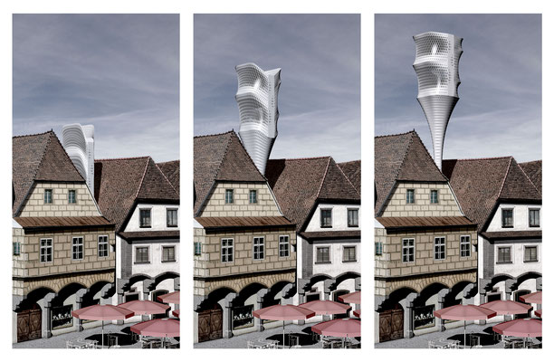 Rendering perspective of the folding process. Architecture Concept for a foldable house prototype that is able to disappear between buildings.