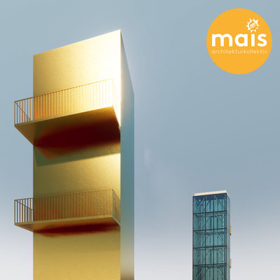 Temporary facade Installation at Kunstuniversität Linz. Architectural concept for a golden Tower on top of the Brückenkopfgebäude, Hauptplatz Linz.