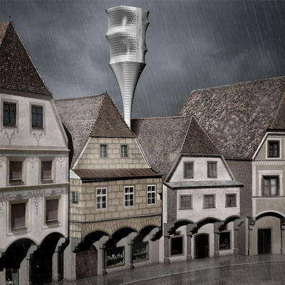 Rendering perspective. Architecture Concept for a foldable house prototype that is able to disappear between buildings.