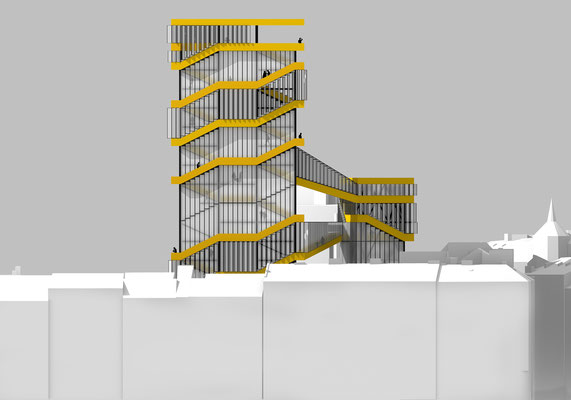 rendered architectural elevation drawing. A conceptual highrise building with spaces for artists in Linz, Austria. Hochhaus in Linz, Innenstadt.
