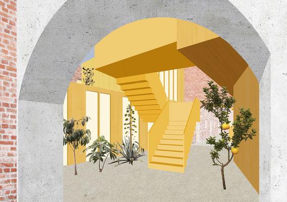 BIENENHOF MAYR  Entwurfsprojekt Kunstuniversität Linz Architektur Studio SchulRaumKultur Professor Michael Zinner