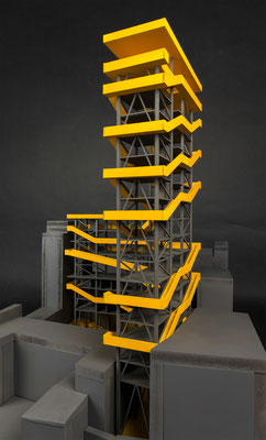 Structural architecture model. A conceptual highrise building with spaces for artists in Linz, Austria. Hochhaus in Linz, Innenstadt.