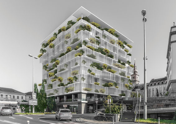 Facade design for the General Tower in Linz. Ecological redesign with a light white structure and green plants for a better microclimate.