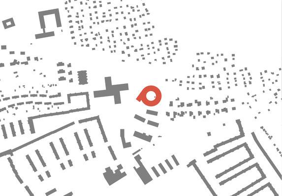 Siteplan drawing. Architektur Entwurf für eine Schule in Steyr Munichholz. Circular building design concept for a school in Austria.