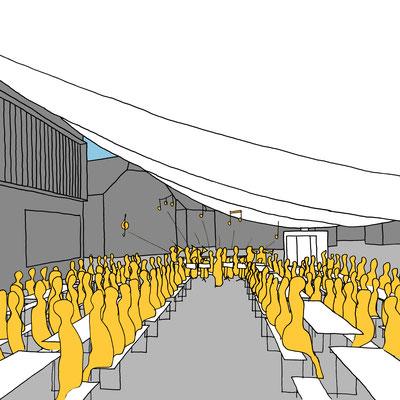 Architektur Wettbewerb für Gestaltung des Marktplatzes in Altenberg bei Linz. Parametric pavilion architecture design for community use in a small austrian town.