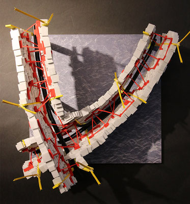 Conceptual city for a flood disaster scenario. Dystopian megastructure as homage to the metabolist architecture of the 1960s. Project at Kunstuniversität Linz.