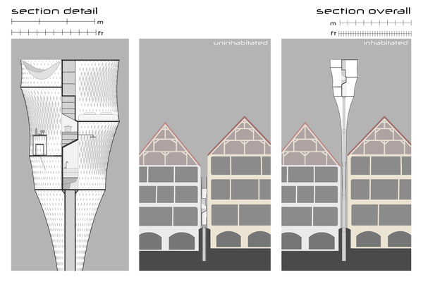 Section drawing. Rendering perspective. Architecture Concept for a foldable house prototype that is able to disappear between buildings.