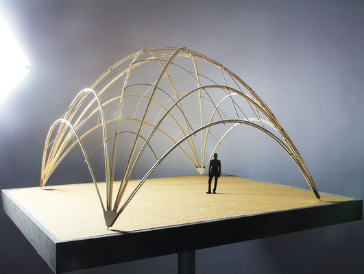 Model photo. Design of a bamboo pavilion structure for the Base Habitat Summerschool of Kunstuniversität Linz. Structural architectural model of the bamboo dome.