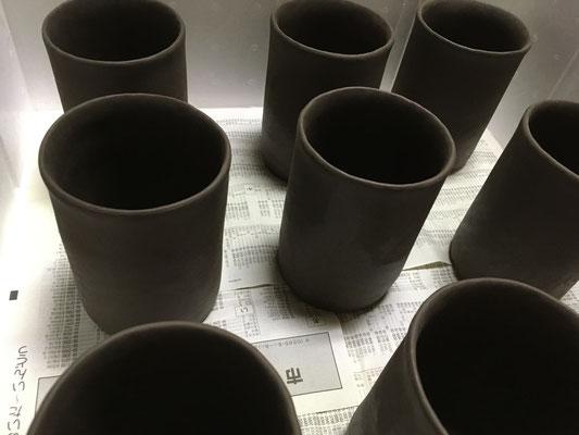 和紙柄アレンジのマグカップの大サイズ(ビアマグ)、底付けまで。取っ手まではできず。
