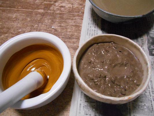 粘土が沢山入った色泥。イエローブラウン。文字通り、黄と茶の練り込み顔料を混ぜて。