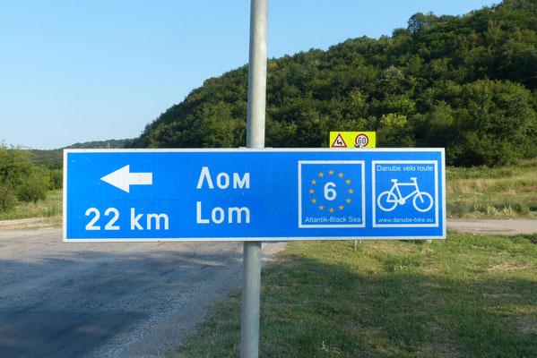 In Bulgarien ist der Donau-Radweg als EuroVelo-Route perfekt beschildert.