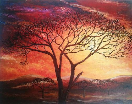 Sonnenuntergang in der Savanne (Ölmalerei auf Spannplatte / 2008)