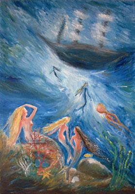 Sirenen am Meeresgrund (Ölmalerei auf Leinwand / 2013)