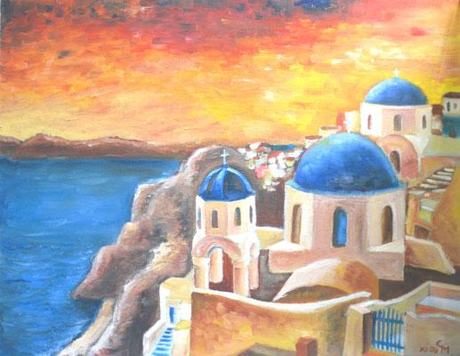 Santorin mit Abendhimmel (Ölmalerei auf Spannplatte 2002)