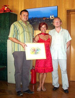 Vlado with Rajka Poljak and prof. Dinko Pirak, major of City Cazma in Croatia