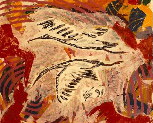Vlado Franjevic: VÖGEL (80x70 Acryl auf Malpappe) 1991
