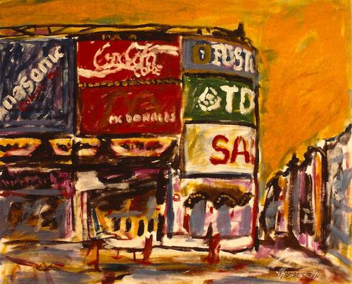 Vlado Franjevic: REKLAMEN AM PICCADILY (80x70 Acryl auf Malpappe) 1991