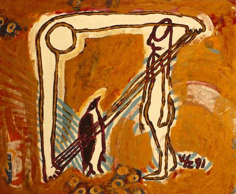 Vlado Franjevic: PINGUIN UND ASTRONAUT (80x70 Acryl auf Malpappe) 1991