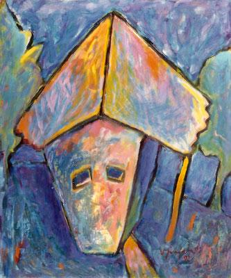 Vlado Franjević: Porträt einer Hausvorderseite (50x60cm) 1992