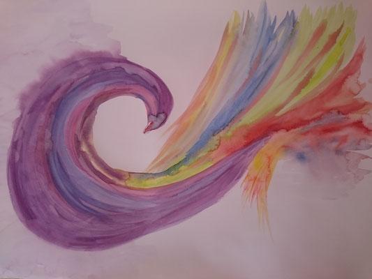Fluss, lila, Vogel, Farben, kreatives Tun, Kreativität, fließen