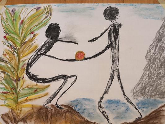 Begegnung, Gleichgewicht, Wertschätzung, Kreide, Pastellkreide