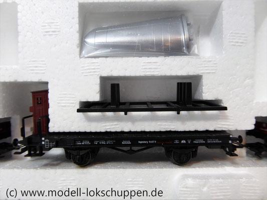 Märklin 45097 Wagen-Set - 6 Flachwagen und 1 Güterzug-BegleitwagenDRG Flugzeug-Transport Me 109    6