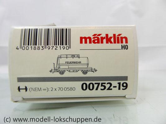 Märklin 00752-19  Kessel-/ Wasserwagen der Feuerwehr - DB