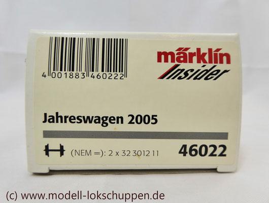 """Märklin 46022 Insider Jahreswagen 2005 - Mittelbordwagen (DB) """"Alfred Moeck""""     1"""